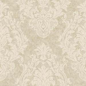 Gold and White Distressed Damask Spot Wallpaper