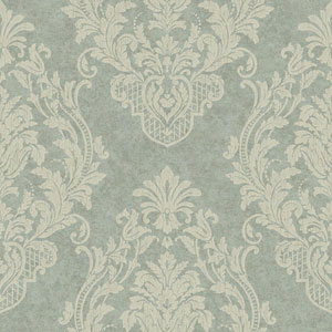 Blue Green and Cream Distressed Damask Spot Wallpaper