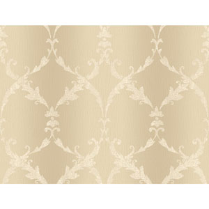 Gold and Cream Gated Scroll Wallpaper