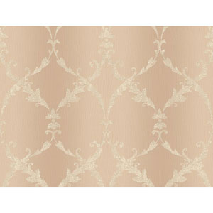 Peach and Cream Gated Scroll Wallpaper