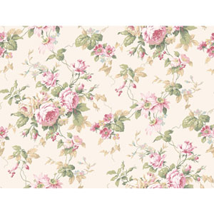 Callaway Cottage White and Pink Rose Floral Trail Wallpaper