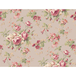 Callaway Cottage Grey and Red Rose Floral Trail Wallpaper