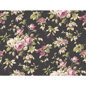 Callaway Cottage Black and Pink Rose Floral Trail Wallpaper