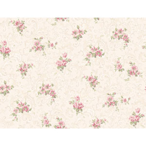 Callaway Cottage White and Pink Full Floral Scroll Wallpaper