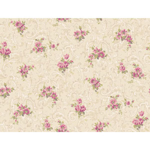 Callaway Cottage Beige and Pink Full Floral Scroll Wallpaper