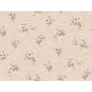 Callaway Cottage Platinum and Purple Full Floral Scroll Wallpaper