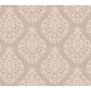 Callaway Cottage Cream and Taupe Damask Spot Texture Wallpaper