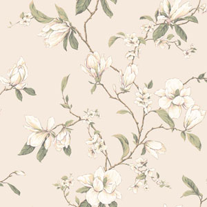 Callaway Cottage Pearlescent Cream Magnolia Branch Wallpaper