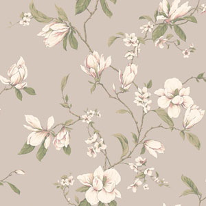 Callaway Cottage Pearlescent Platinum Magnolia Branch Wallpaper