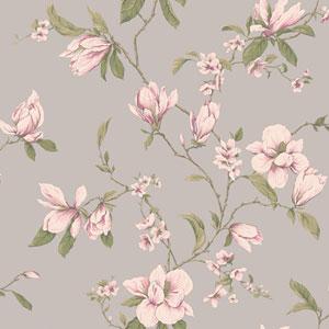 Callaway Cottage Silver Magnolia Branch Wallpaper