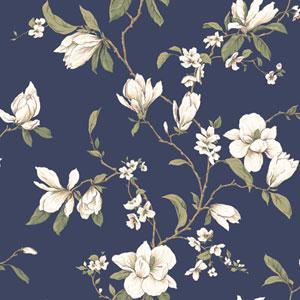 Callaway Cottage Navy Blue Magnolia Branch Wallpaper