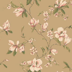 Callaway Cottage Gold Magnolia Branch Wallpaper