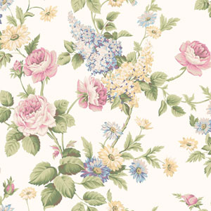 Callaway Cottage White and Pink Monogram Rose Wallpaper