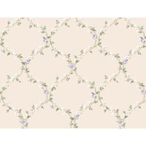 Callaway Cottage White and Purple Elegant Rose Trellis Wallpaper