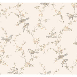 Callaway Cottage Pale Silver and Peach Floral Branches with Birds Wallpaper