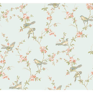 Callaway Cottage Aqua Floral Branches with Birds Wallpaper
