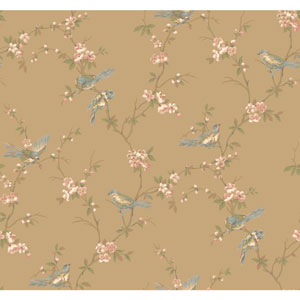 Callaway Cottage Gold Floral Branches with Birds Wallpaper