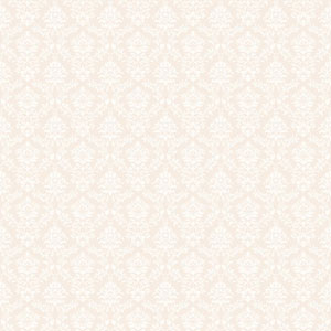 Callaway Cottage Beige and White Flowered Damask Wallpaper