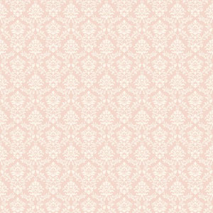Callaway Cottage Pink and White Flowered Damask Wallpaper