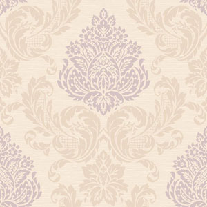 Callaway Cottage Cream and Light Purple Silky Damask Wallpaper