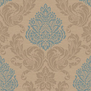 Callaway Cottage Gold and Teal Silky Damask Wallpaper