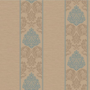 Callaway Cottage Gold and Teal Silky Damask Stripe Wallpaper