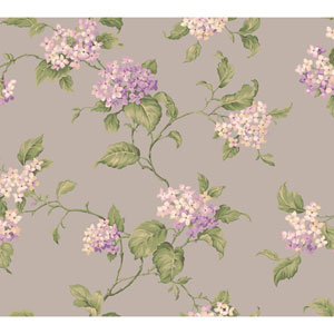 Callaway Cottage Silver Hydrangia Sidewall Wallpaper