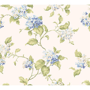 Callaway Cottage White and Blue Hydrangia Sidewall Wallpaper