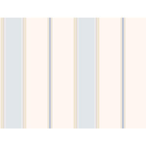 Callaway Cottage White and Blue Wide Stripe Regatta Wallpaper