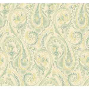 Candice Olson Modern Nature Beige and Teal Lyrical Wallpaper