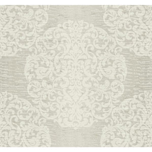 Ronald Redding Designer Damask Silver Sheen and Pale Grey Marquette Wallpaper