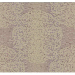 Ronald Redding Designer Damask Lilac and Gold Sheen Marquette Wallpaper
