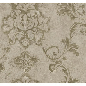 Ronald Redding Designer Damask Grey and Silver Taupe Andalucia Wallpaper