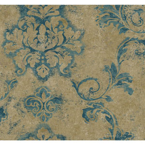 Ronald Redding Designer Damask Teal and Gold Andalucia Wallpaper