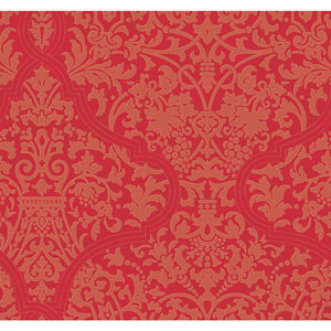 Ronald Redding Designer Damask Bright Red and Metallic Gold Granville Wallpaper