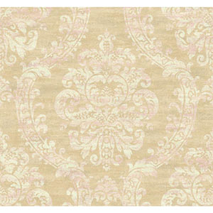 Ronald Redding Designer Damask Pale Gold Sheen and Taupe Grand Palais Wallpaper