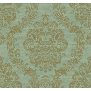 Ronald Redding Designer Damask Deep Aqua and Metallic Gold Grand Palais Wallpaper