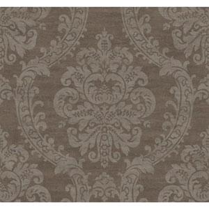 Ronald Redding Designer Damask Dark Grey and Metallic Silver Grand Palais Wallpaper
