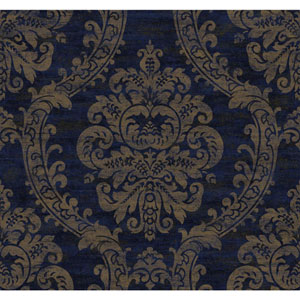 Ronald Redding Designer Damask Blue and Metallic Gold Grand Palais Wallpaper