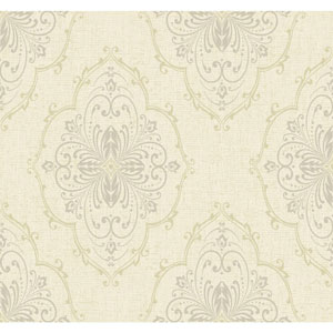 Ronald Redding Designer Damask White and Pale Yellow Monte Christo Wallpaper