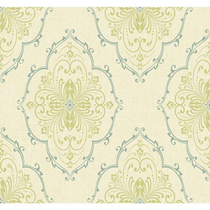Ronald Redding Designer Damask Cream and Pale Yellow Monte Christo Wallpaper