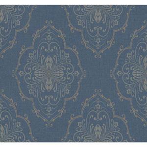Ronald Redding Designer Damask Blue and Silver Monte Christo Wallpaper