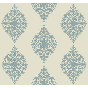 Ronald Redding Designer Damask Light Blue and Cream Mikado Wallpaper
