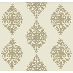 Ronald Redding Designer Damask Taupe and Cream Mikado Wallpaper