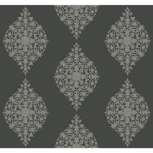 Ronald Redding Designer Damask Silver and Dark Grey Mikado Wallpaper
