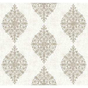 Ronald Redding Designer Damask White and Taupe Mikado Wallpaper