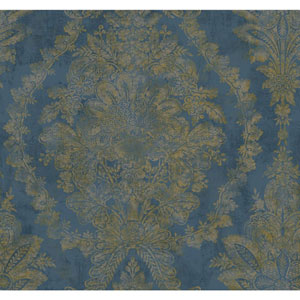 Ronald Redding Designer Damask Blue and Gold Charleston Wallpaper