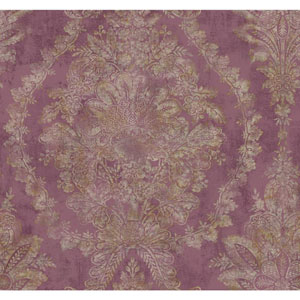 Ronald Redding Designer Damask Lilac and Gold Charleston Wallpaper