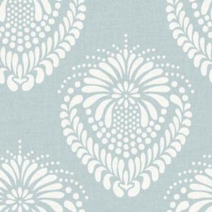 Ronald Redding Designer Damask Light Blue and White Escala Wallpaper