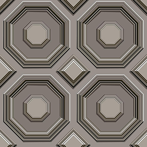 Dimensional Artistry Black Coffered Octagon Wallpaper